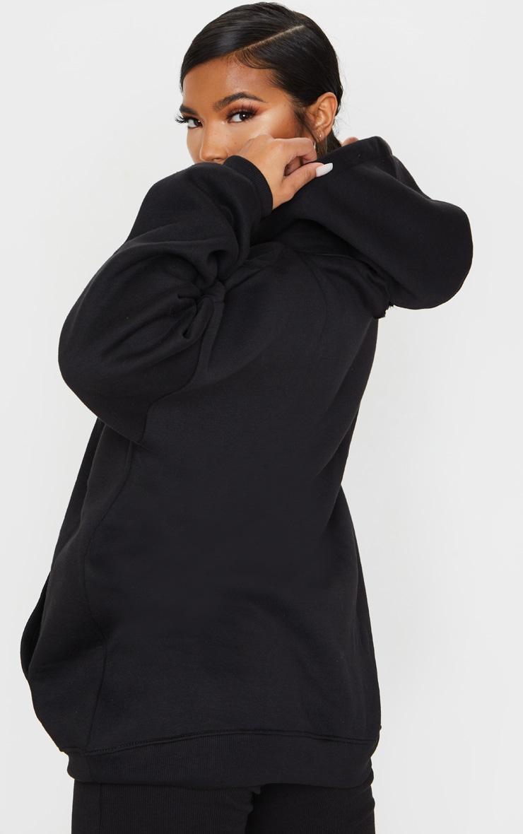 Black Oversized Pocket Front Drawstring Hoodie 2