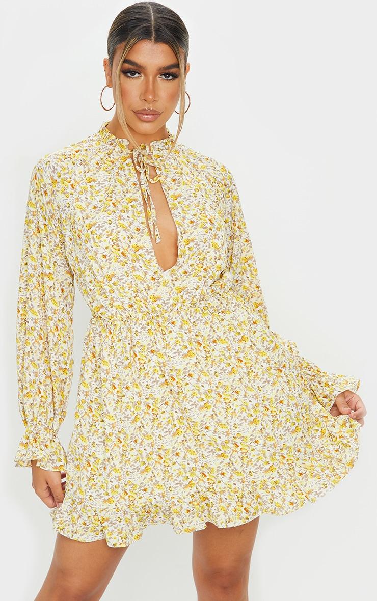 Lemon Floral Print Elasticated Frill Cuff Smock Dress 3