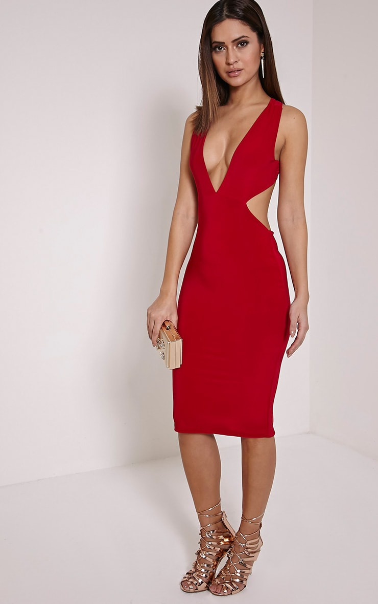Biddy Red Deep V Plunge Cross Back Midi Dress 4