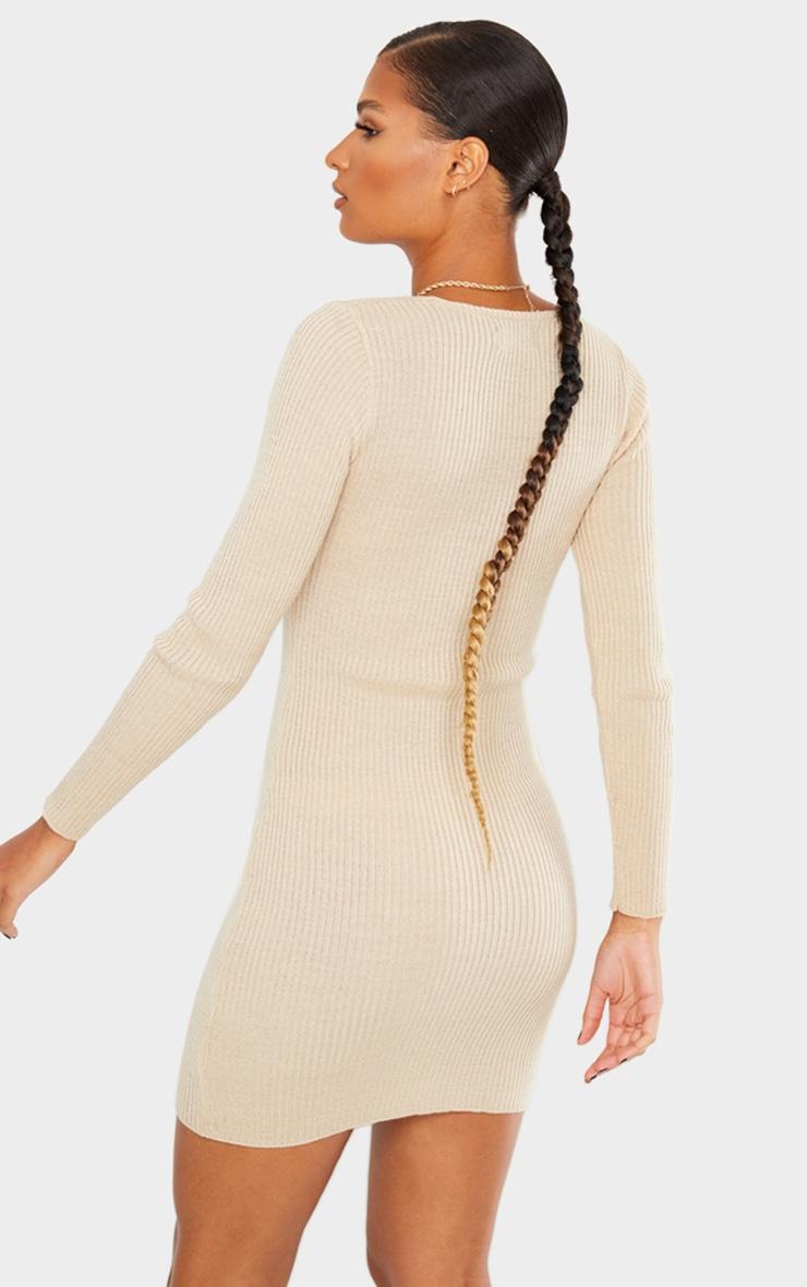 Stone V Neck Collar Detail Knitted Dress 2