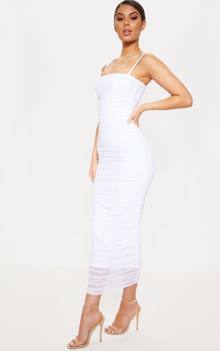 White Strappy Mesh Ruched Midaxi Dress 4