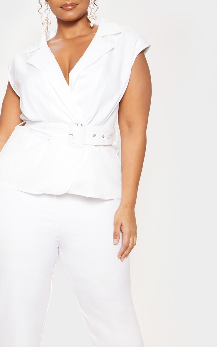 White Peplum Belt Detail Jumpsuit 6