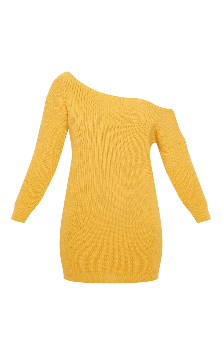 Mustard Off The Shoulder Knitted Dress 3