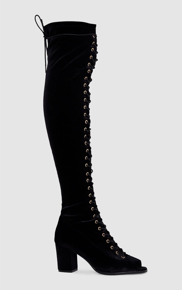 Black Velvet Lace Up Thigh High Boots  3