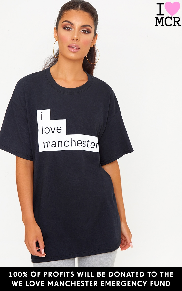 Charity Black I Love Manchester T Shirt 1