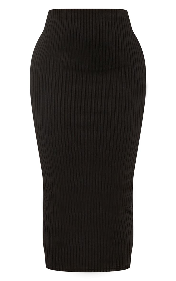 Shape Anika Black Ribbed Midi Skirt  3