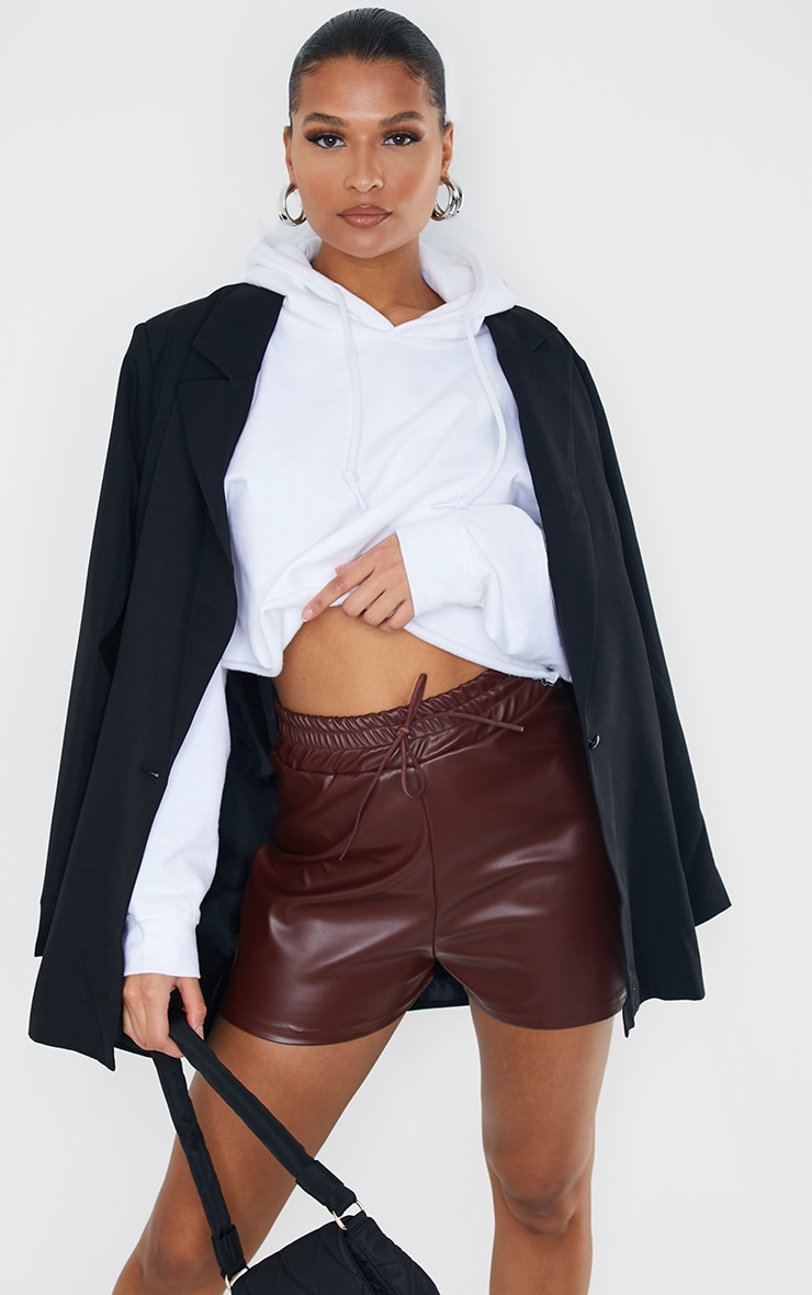 Chocolate Faux Leather Ruched Waist Band Short 4
