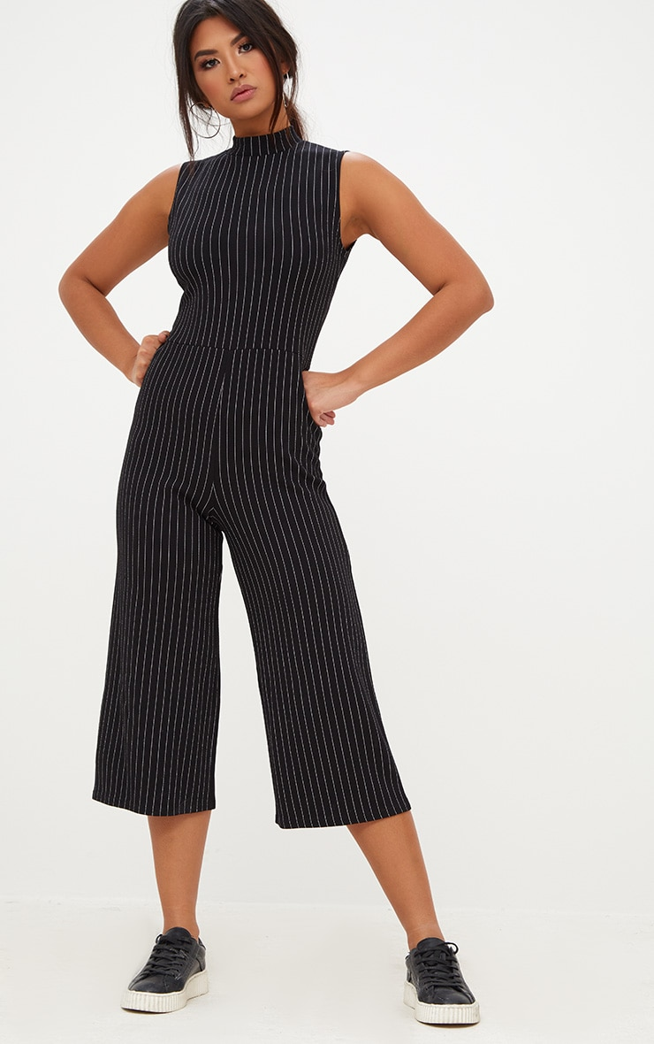 Black Striped High Neck Culotte Jumpsuit 1