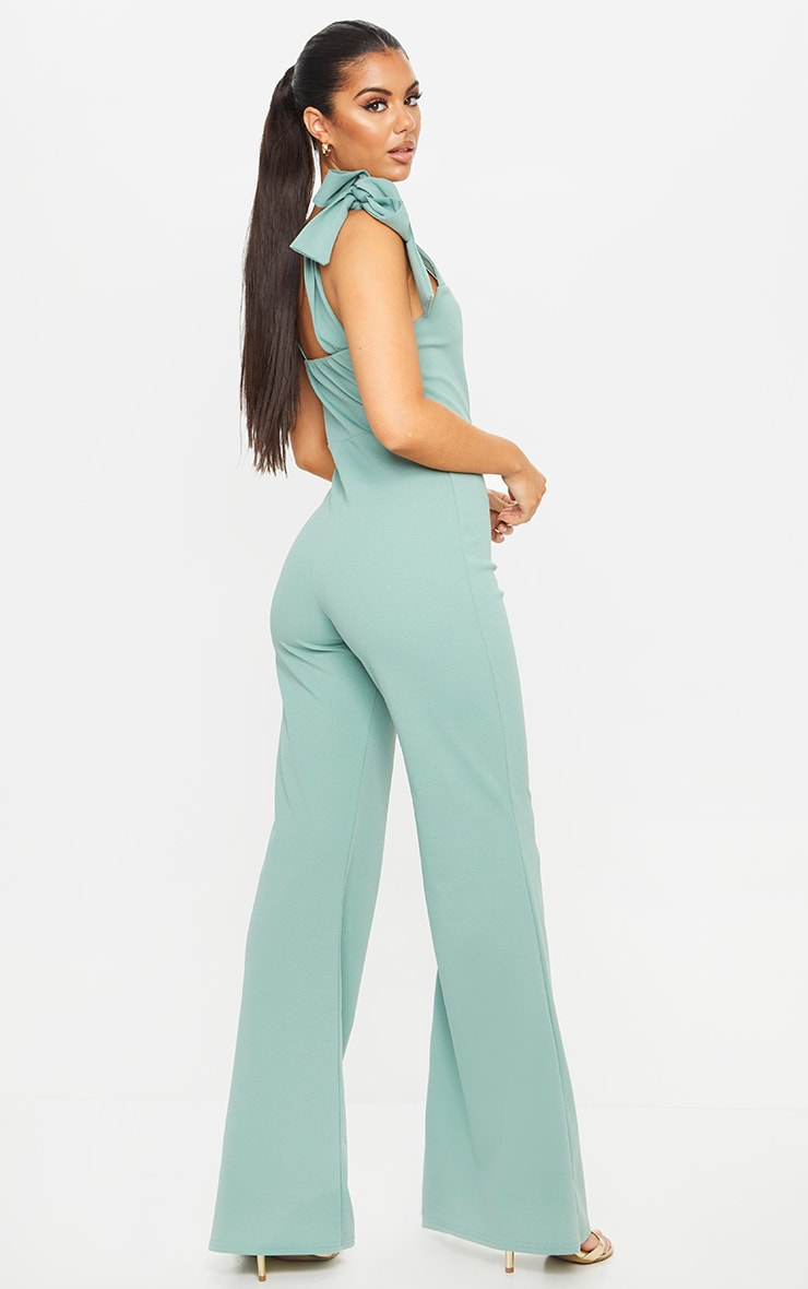 Mint Tie Strap Straight Neck Jumpsuit 2