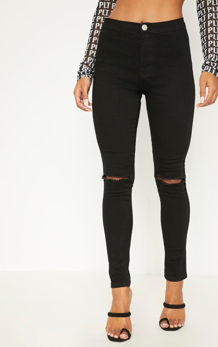 Black Knee Rip High Waisted Skinny Jean 2