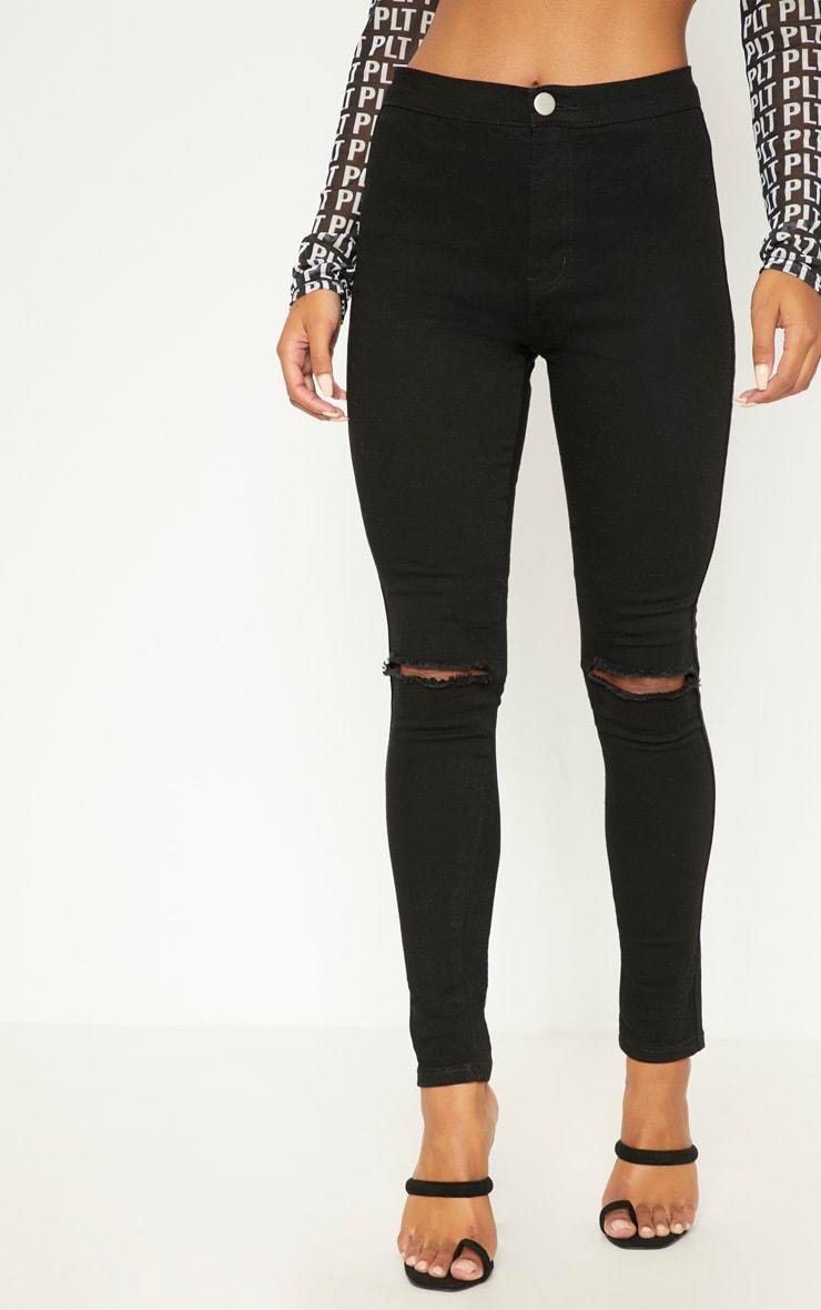 Jean skinny noir taille haute déchiré aux genoux délavage moyen   2