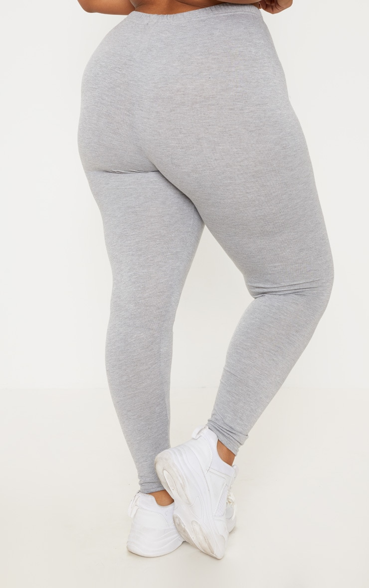 Plus Grey Marl Basic Leggings  4