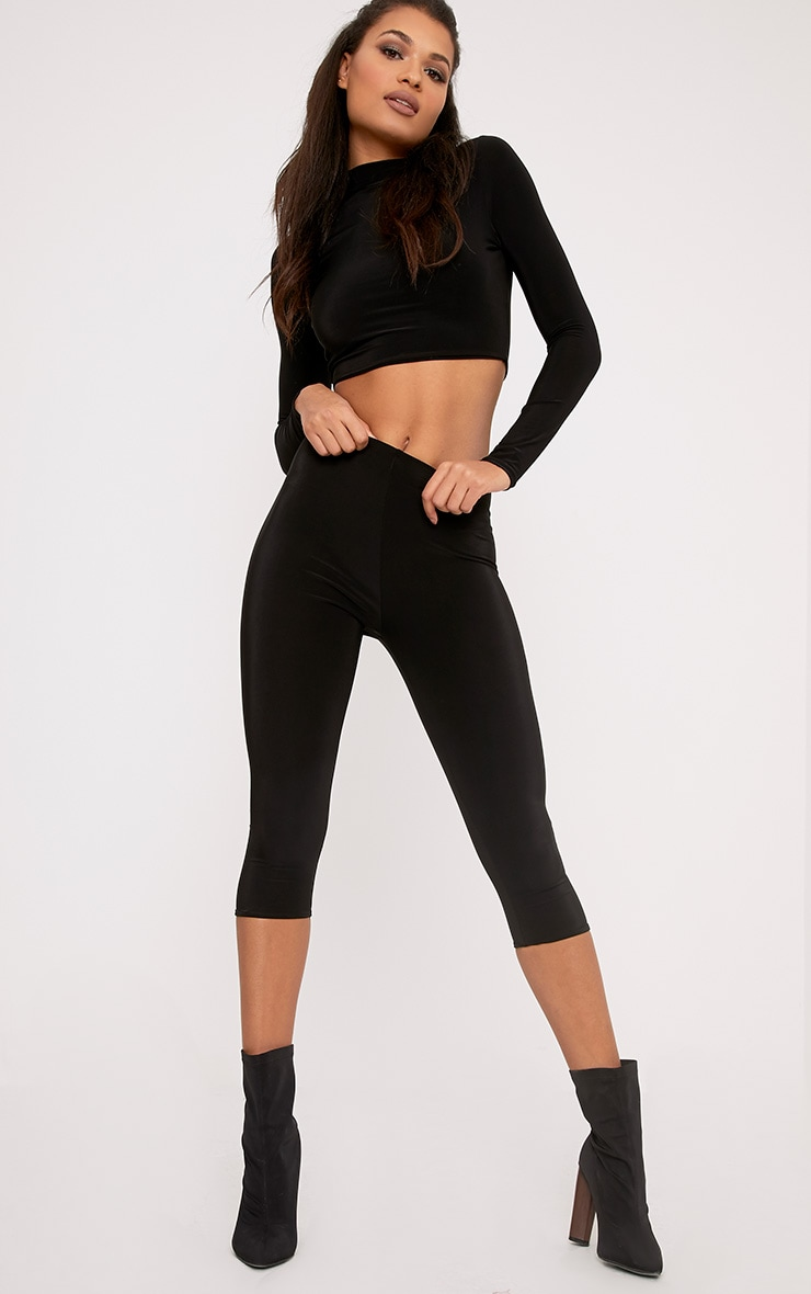 Rio Black Slinky Cropped Leggings