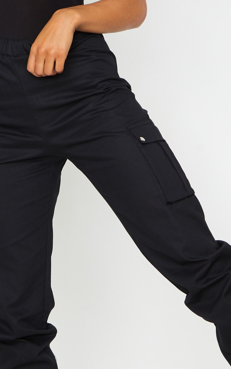 Black Pocket Detail Cargo Pants 4