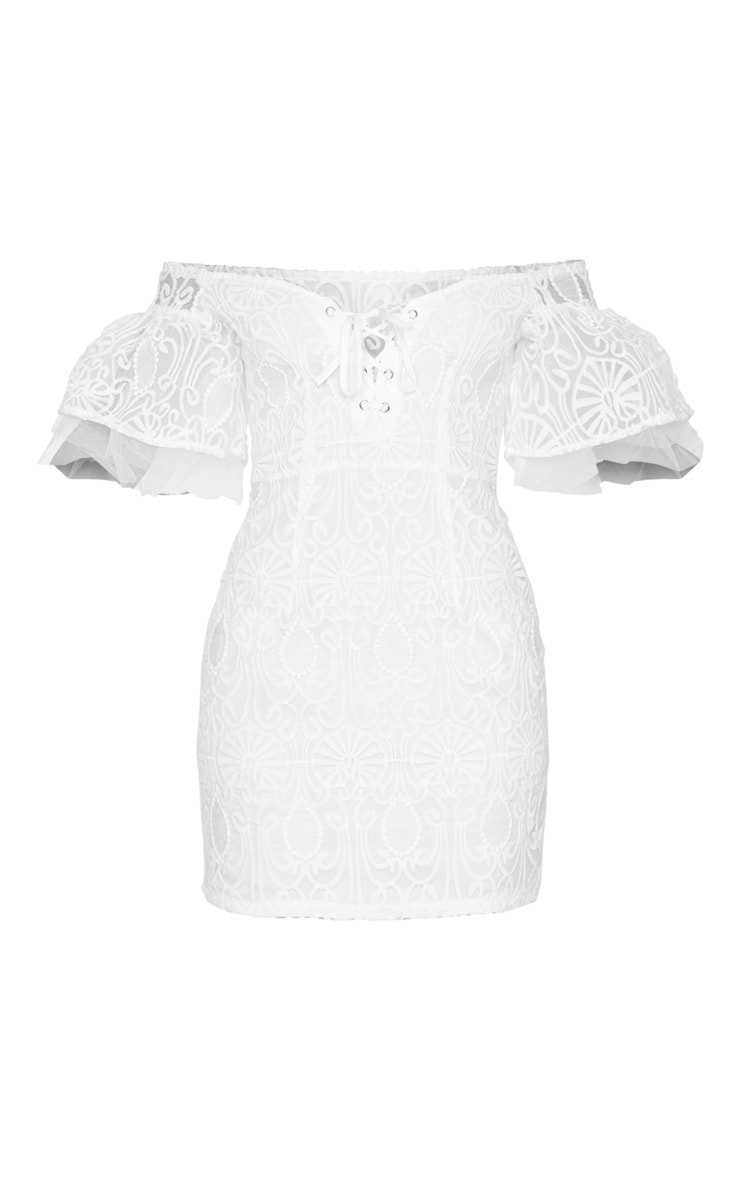 White Embroidered Frill Sleeve Lace Up Bodycon Dress 5