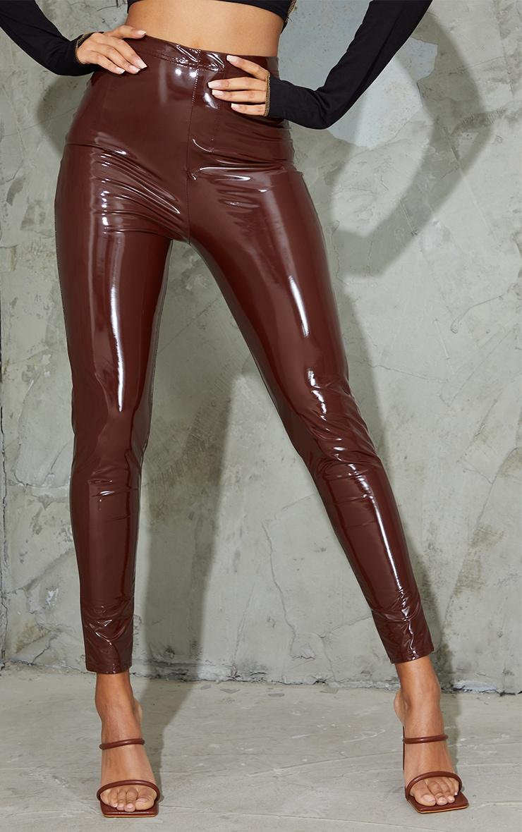 Chocolate Vinyl Pocket Detail Skinny Pants 2
