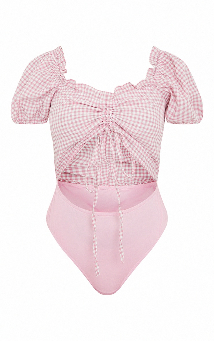 Petite Pink Gingham Cut Out Ruched Puff Sleeve Bodysuit 5