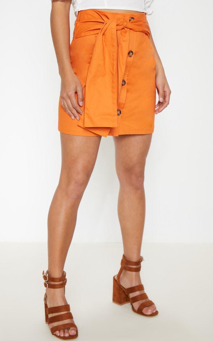 Petite Orange Button Up Tie Front Skirt 2