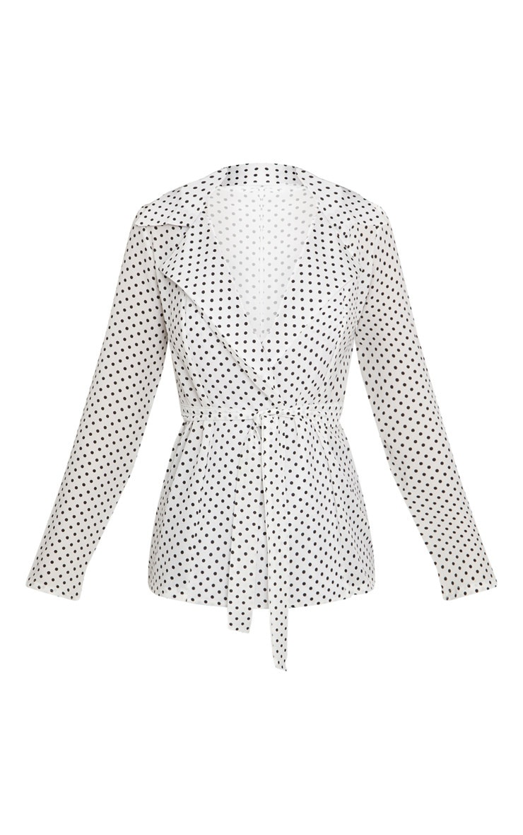 White Polka Dot Belted Top 3