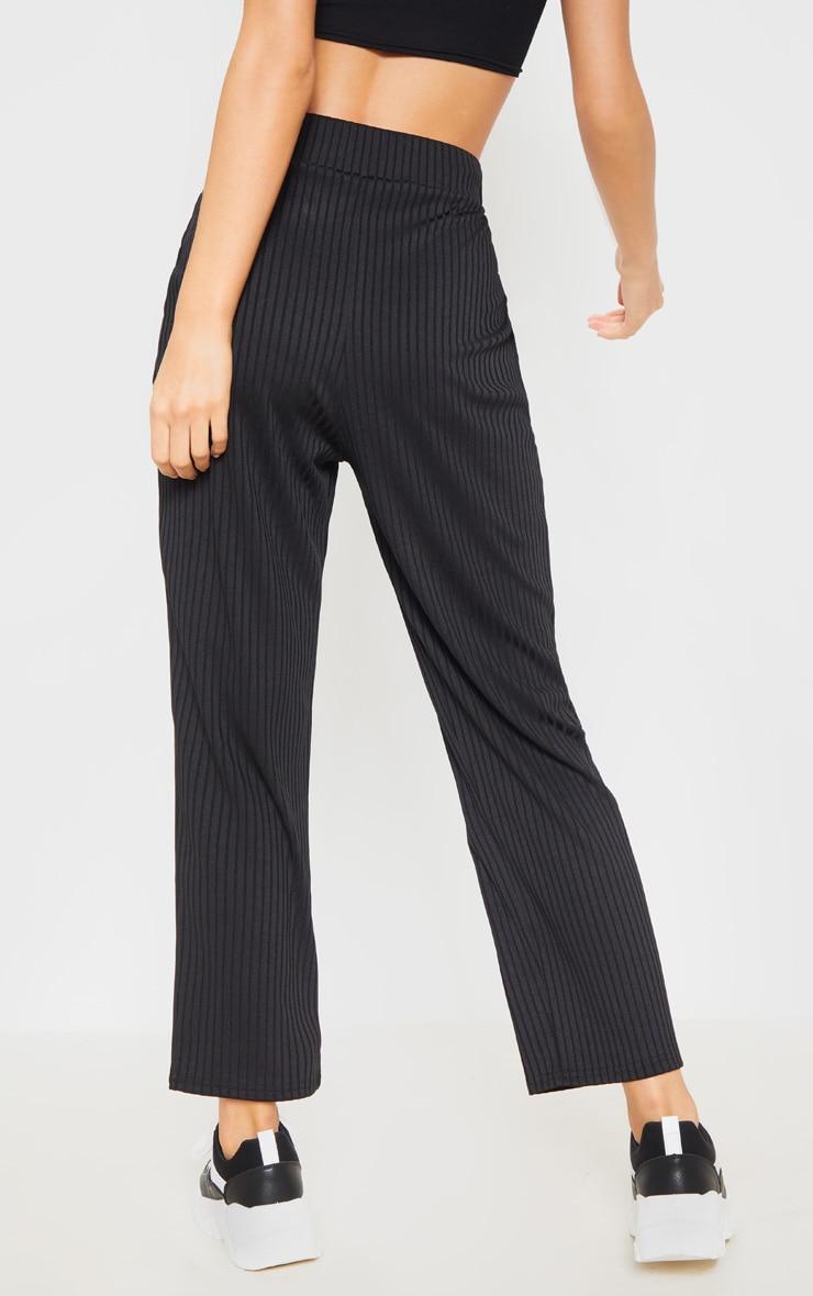 Black Basic Drawstring Waist Cigarette Pants 4