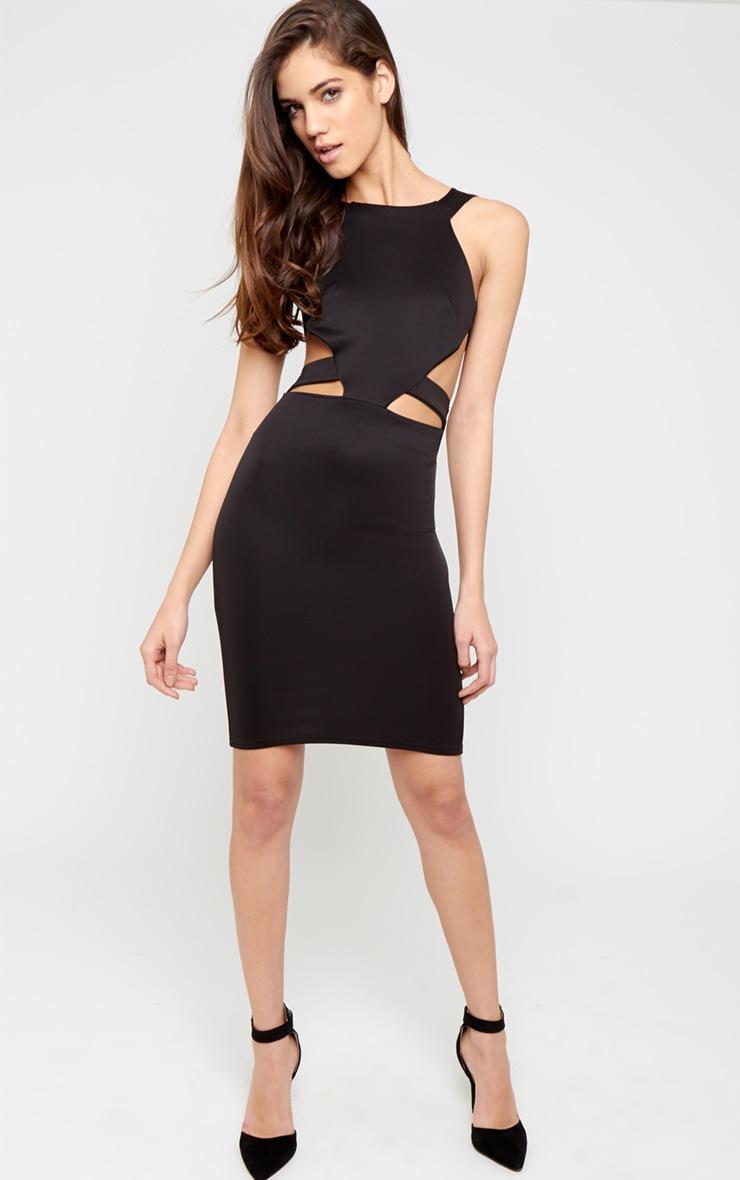 Saffron Black Cut Out Midi Dress 5