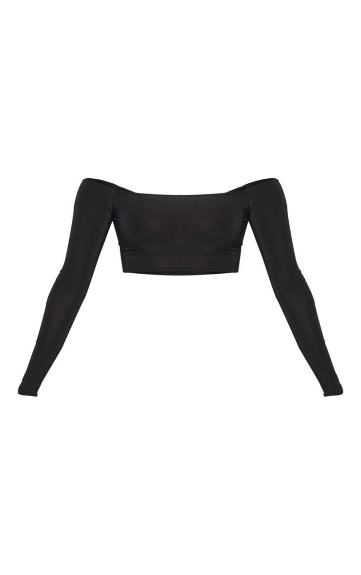Shape Black Slinky Bardot Long Sleeve Crop Top 3