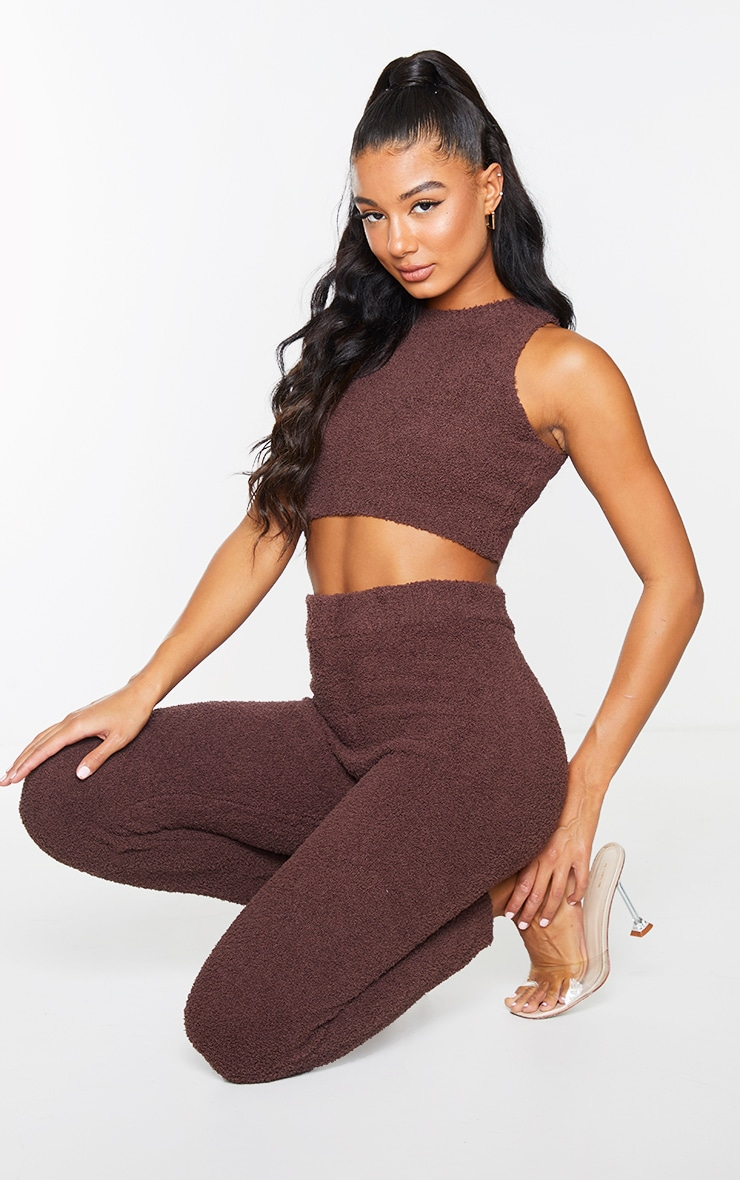 Chocolate Premium Fluffy Knitted Top And Legging Set 1