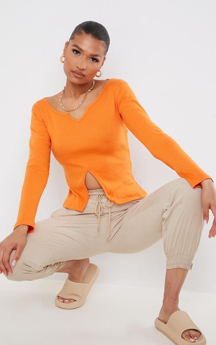 Orange Rib V Cut Out Long Sleeve Top 1