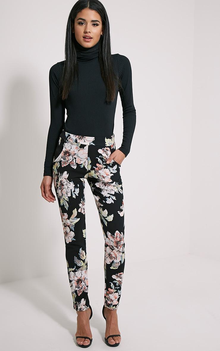 Karan Black Floral Trousers 1