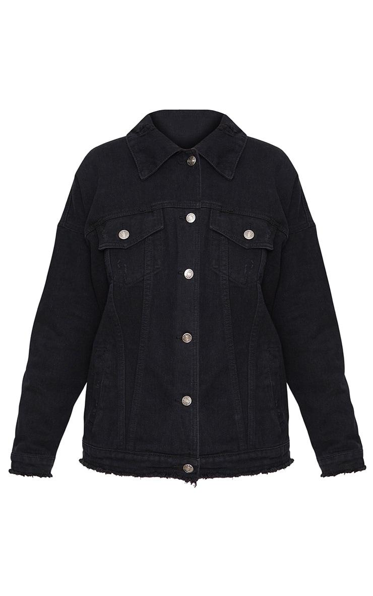 Black Wash Boys Lie Oversized Denim Jacket 3