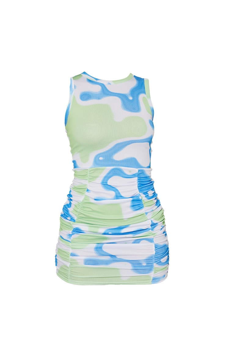 Green Abstract Ribbed Ruched Sleeveless Bodycon Dress 5