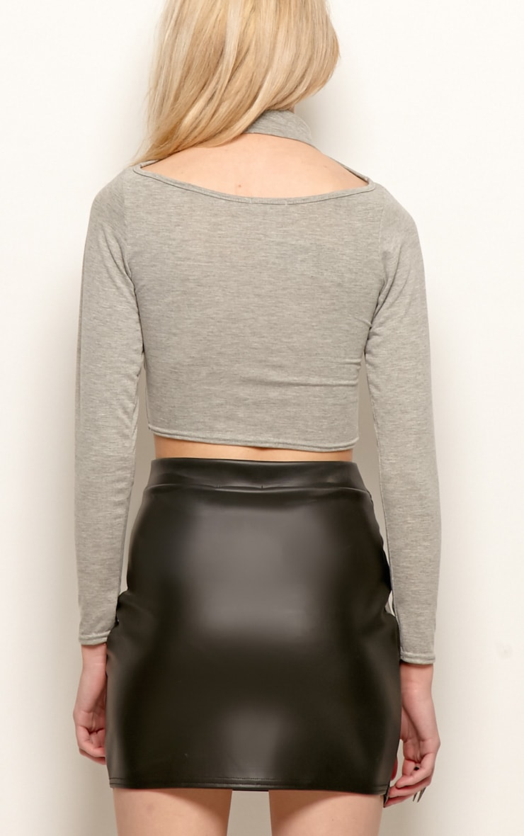 Jenna Grey Roll Neck Cut Out Crop Top  2