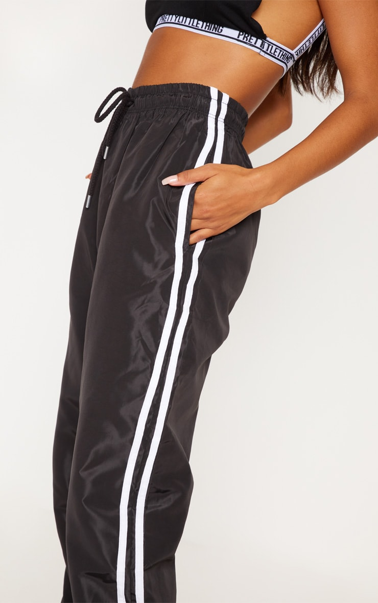 Black Contrast Side Stripe Shell Joggers 5