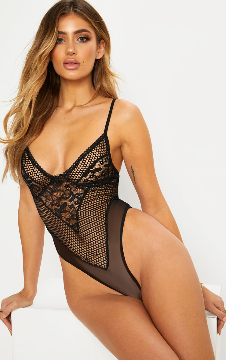 Black Fishnet And Lace Body 1