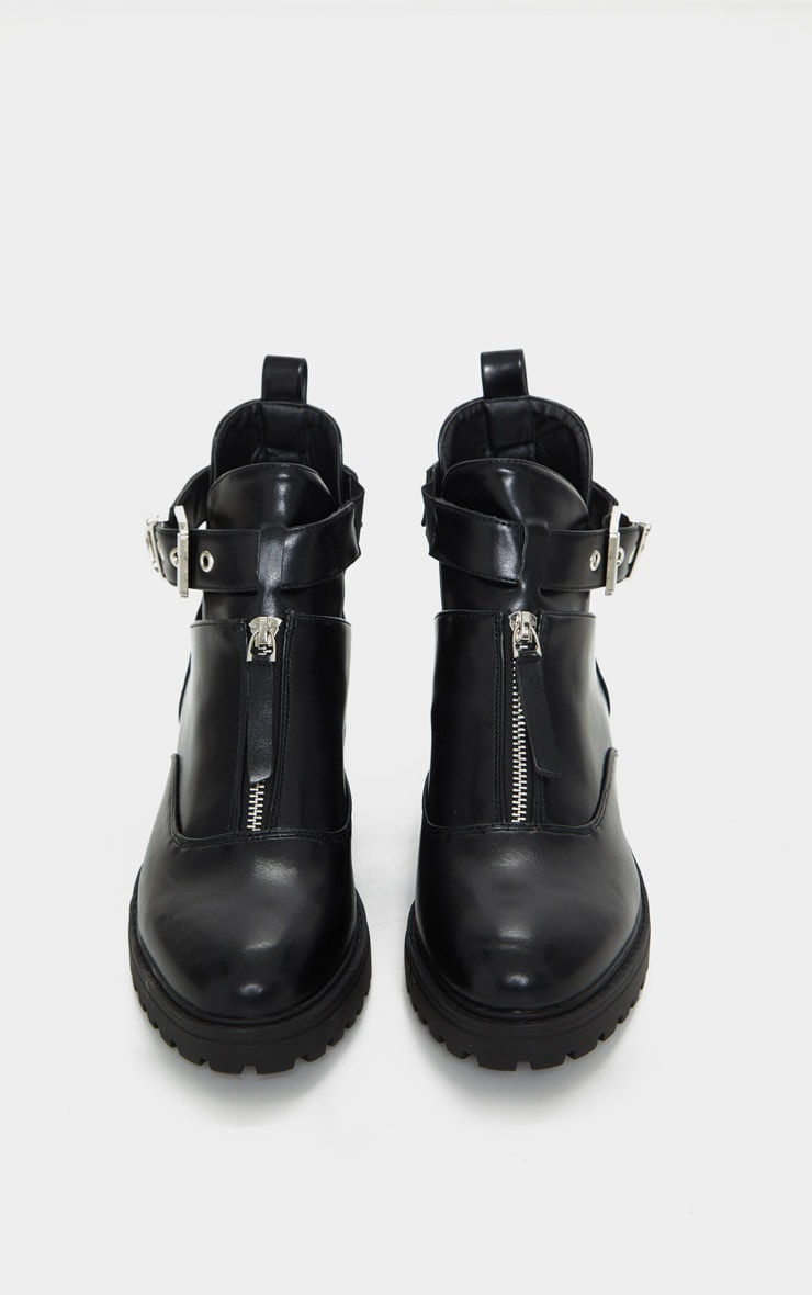 Black Zip Front Buckle Ankle Boot 4