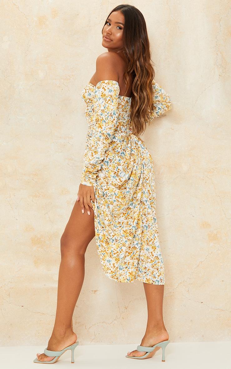 Yellow Ditsy Floral Cut Out Bardot Draped Midi Dress 2