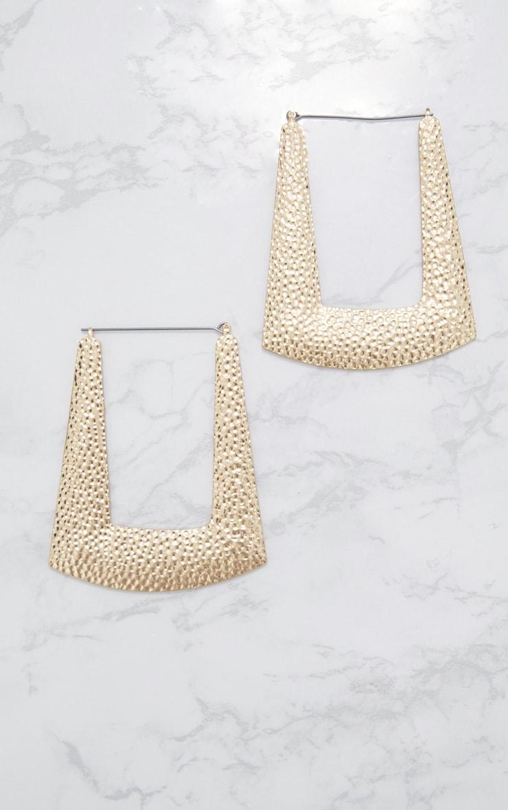 Gold Square Textured Hoop Earrings 3