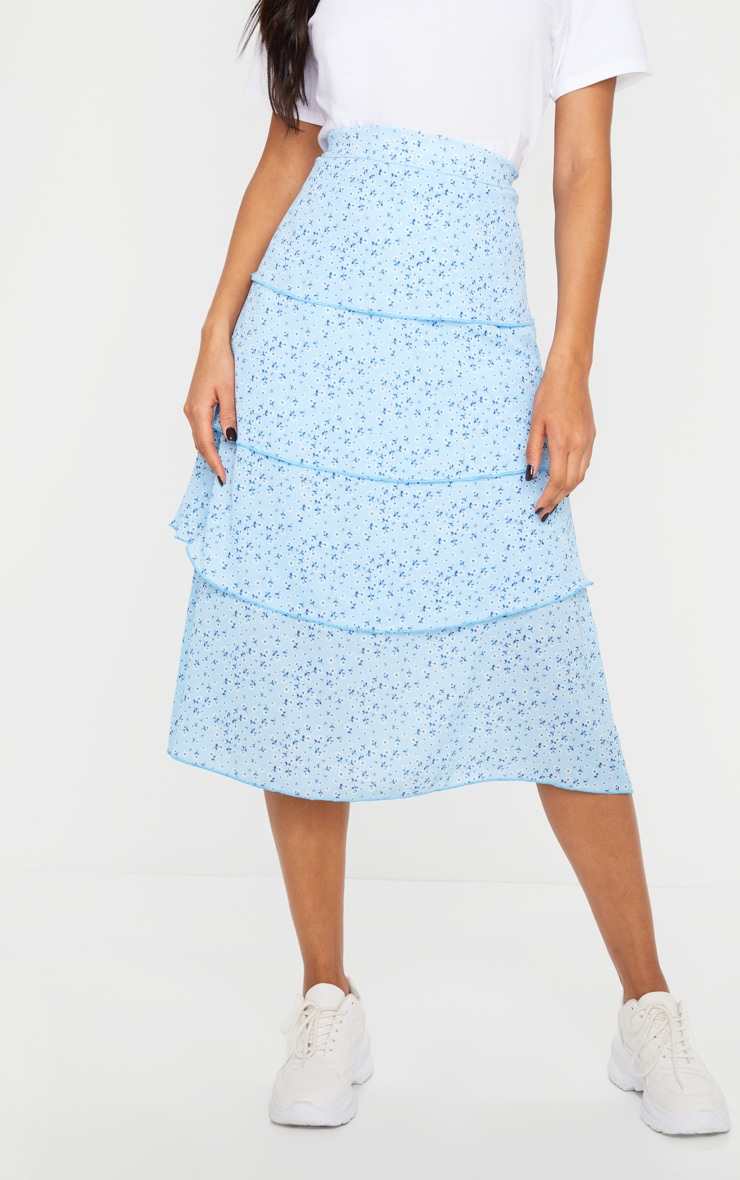 Baby Blue Ditsy Floral Tiered Midi Skirt 2