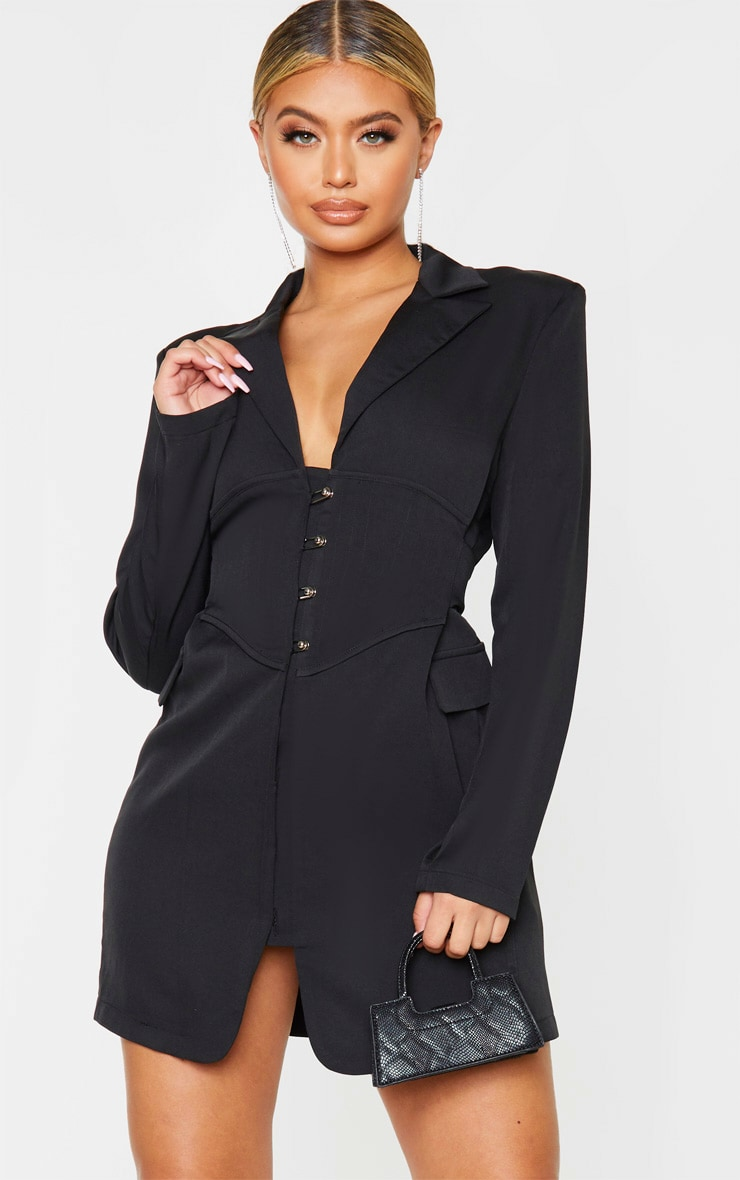 Black Pin Detail Corset Blazer Dress 1