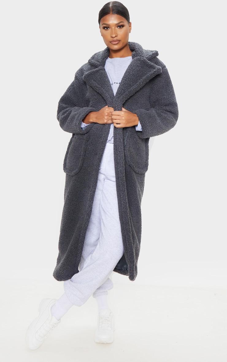 Charcoal Maxi Borg Coat 1