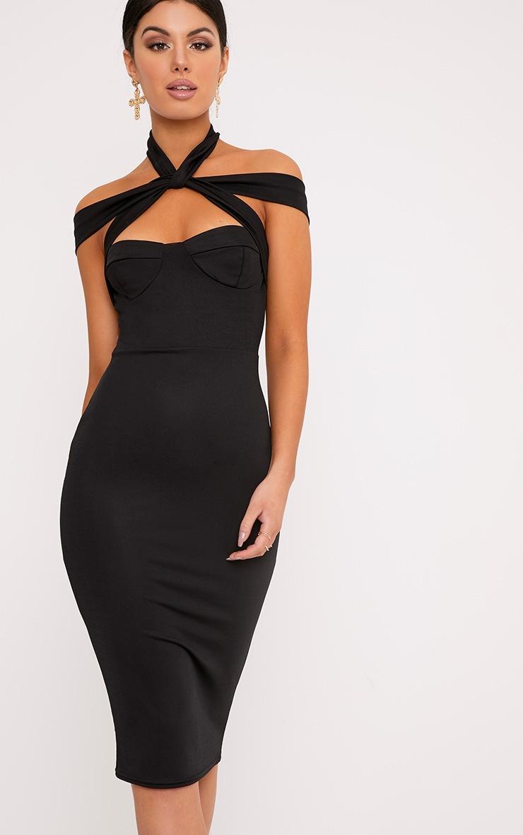 Pandara Black Strappy Top Detail Midi Dress 1
