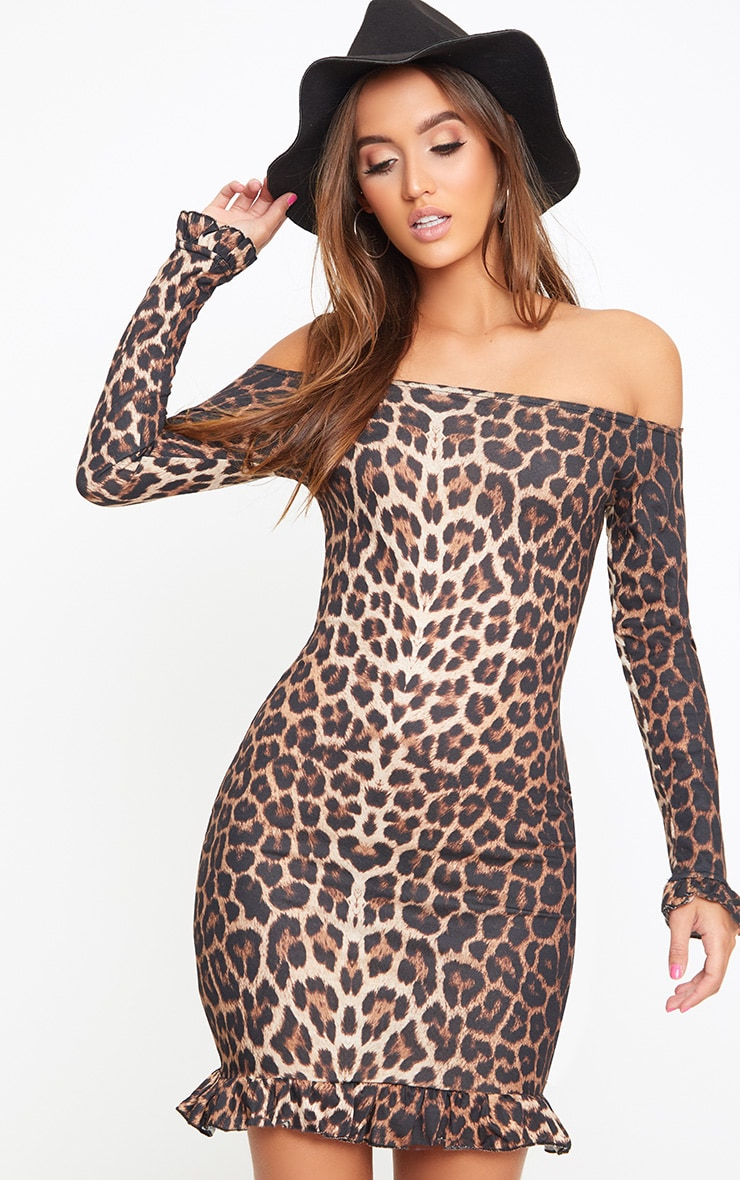 Brown Leopard Bardot Frill Hem Bodycon Dress 1