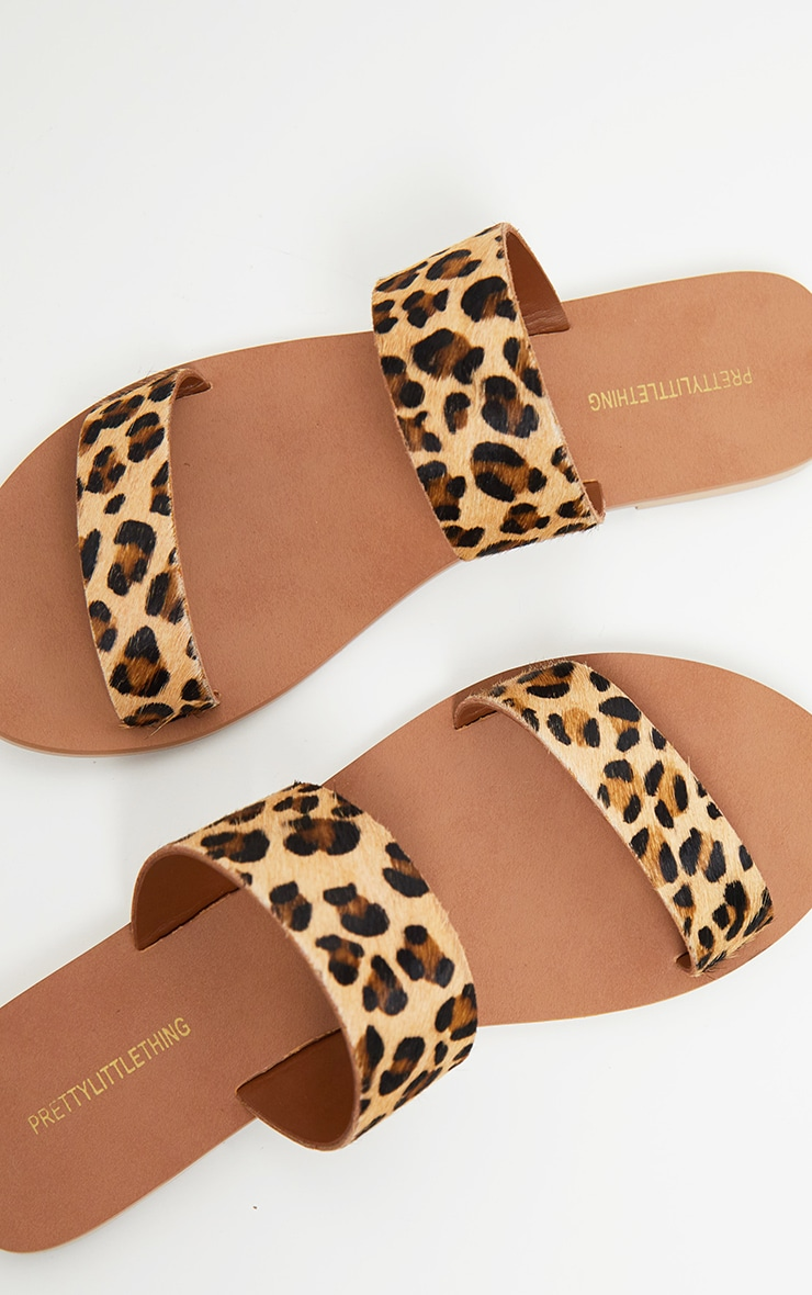 Leopard Twin Strap Basic Leather Sandal 4