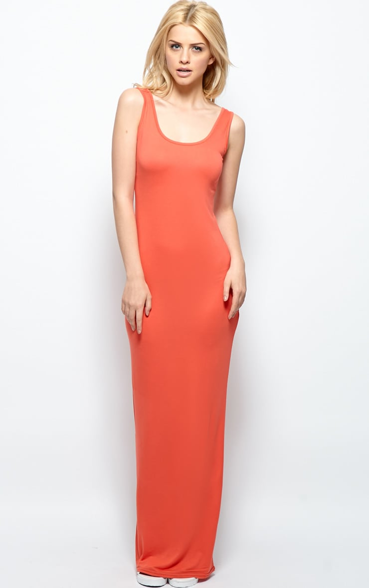 Zoe Orange Jersey Scoop Neck Maxi Dress 1