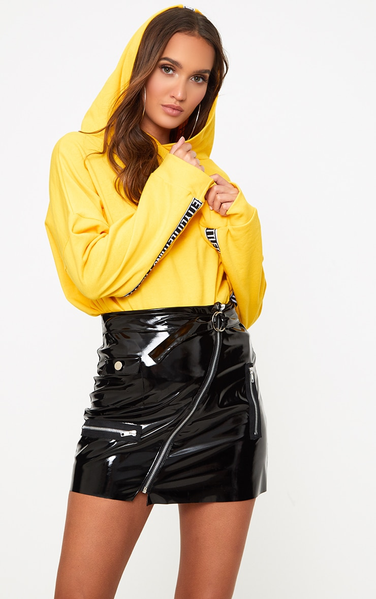 Black Vinyl Biker Mini Skirt 1