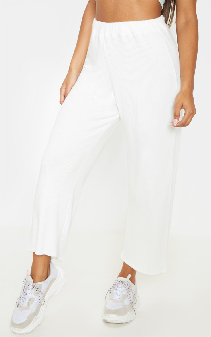 Cream Brushed Rib Wide Leg Culotte 2