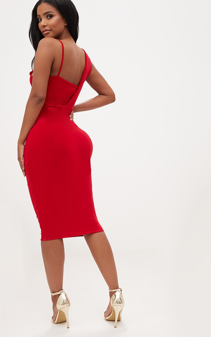 Shape Red Knot Front Plunge Midi Dress 2