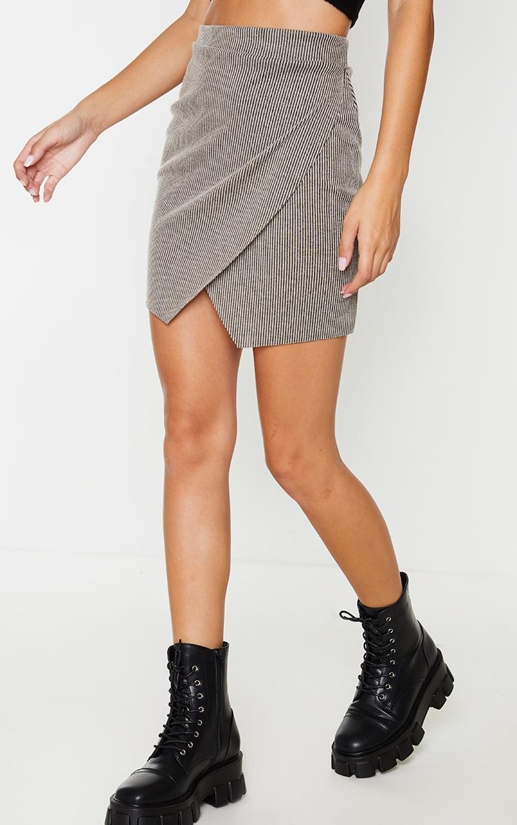 Stone Contrast Rib Wrap Mini Skirt 2