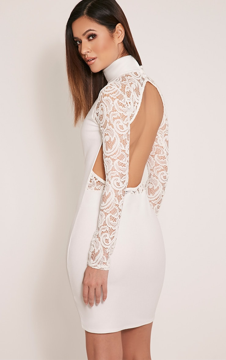 Bethenny Cream Cut Out Back Lace Insert Bodycon Dress