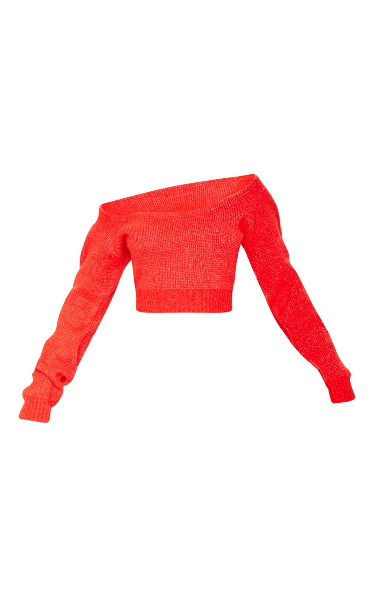 Tomato Red V Neck Off Shoulder Soft Knitted Crop Sweater 3